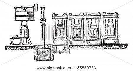 Presses filter vases with transportable vessel, Provision of this system, vintage engraving.
