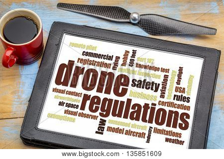 drone regulations (USA related) word cloud on a digital tablet with a cup of coffee