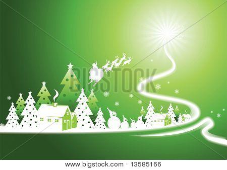 Village on the swirl of christmas tree.