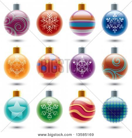 12 different christmas ornaments.