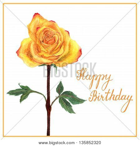 Postcard With Watercolor Yellow Rose