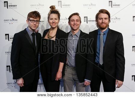 NEW YORK, NY-MAY 18:(L-R) Michael Gregory, Sarah Fullen Gregory, Evan Gregory & Andrew Rose Gregory of The Gregory Brothers at Webby Awards at Cipriani Wall Street on May 18, 2015 in New York City.