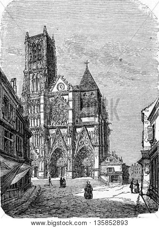 Meaux Cathedral in  Meaux, Seine-et-Marne, France. From Chemin des Ecoliers, vintage engraving, 1876.
