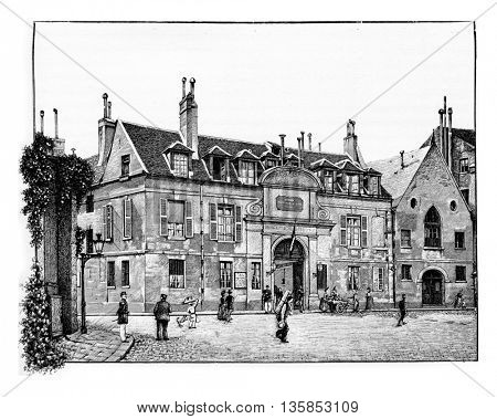 Pitie-Salpetriere Hospital in Paris, France. Vintage engraving.