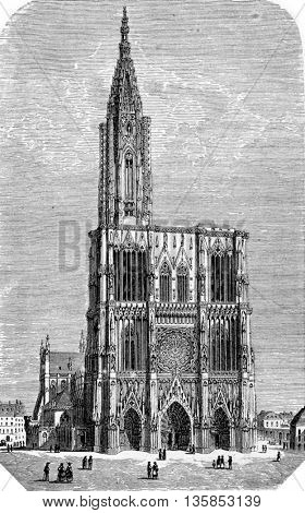Strasbourg Cathedral or the Cathedral of Our Lady of Strasbourg in Strasbourg, Alsace, France.