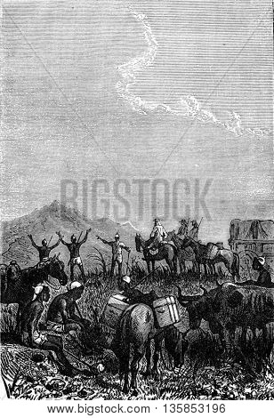 Soldier explorers and Makololo tribe native hunters in South Africa. From Jules Verne 3 Russians and 3 English Book, vintage engraving, 1871.