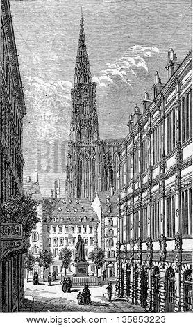 Rue des Grandes Arcades in Strasbourg, Alsace, France. From Chemin des Ecoliers, vintage engraving, 1876.