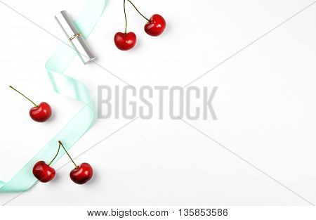 white background table, view table mockup, accessories modern, flat lay. Cherry on the table