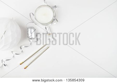 white background table view table mockup accessories modern