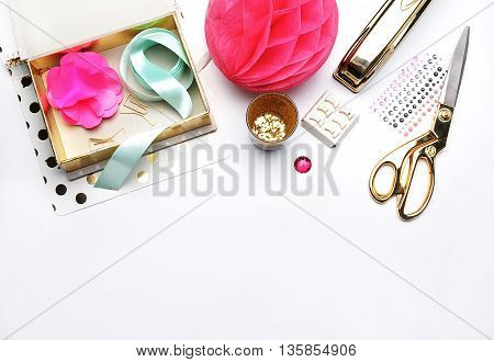 Flat lay. Stationery golden. Background mock up. Hero and header for site poster