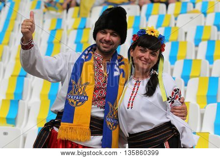 MARSEILLE FRANCE - JUNE 21 2016: Ukrainian fans show their support during the UEFA EURO 2016 game Ukraine v Poland at Stade Velodrome in Marseille