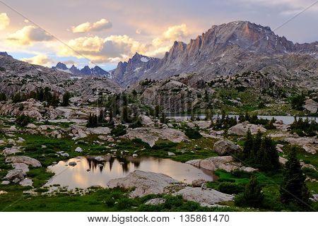 Sunset Illuminates Fremont Peak and Island Lake  The Wind River Range, Rocky Mountains, Wyoming