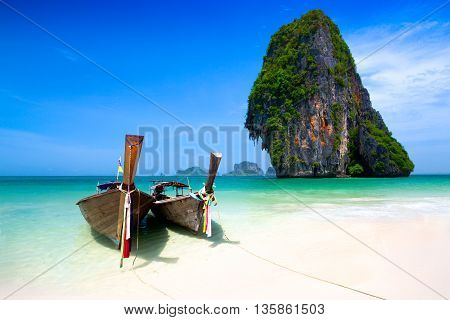 Long boat at Rairay beach Krabi Thailand