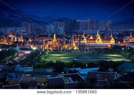 Wat Phra Kaew Temple of the Emerald BuddhaGrand palace at twilight in Bangkok Thailand