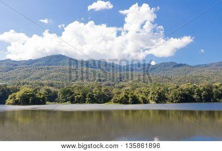 Beautiful lake and mountain at Chiangmai University thailand.