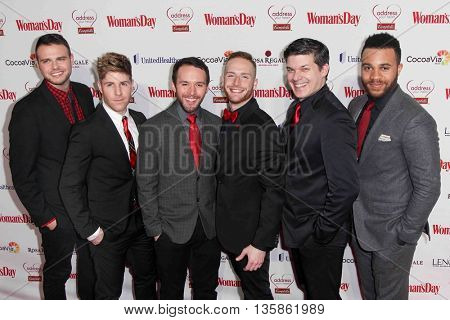 (L-R) Brad Greer, Jesse JP Johnson, Gabe Violett, Eric Michael Krop, Mike Backes & Josh Dawson of The Broadway Boys attend the Woman's Day Red Dress Awards on February 10, 2015 in New York City.