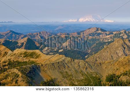 Sunrise Illuminates The Teanaway, Longs Pass and Mt Rainier. Mt Stuart, The Cascade Mountains, Washington