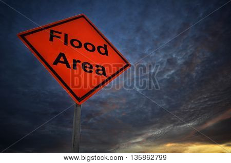 Flood Area warning road sign with storm background