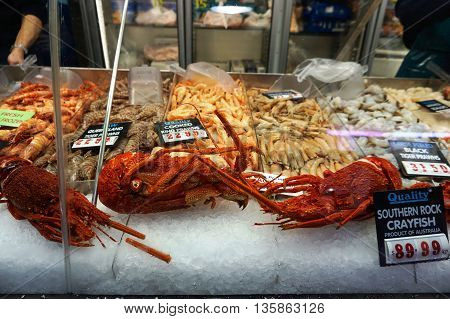 Fresh Seafood On Fish Market In Sydney
