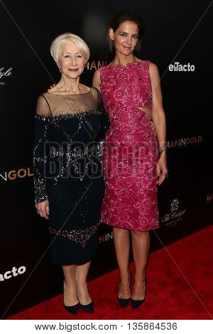 NEW YORK-MAR 30: Katie Holmes (R) and Helen Mirren attend the