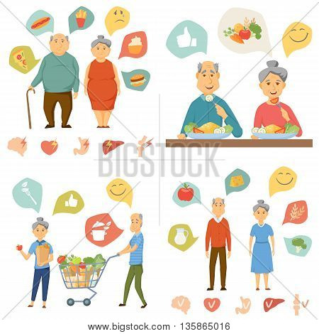 Old couple healthy food infographics. Healthy and junk food, human organ chart. Old people healthy lifestyle concept. Smile couple diet infographics. Old man and woman eating and shopping food.