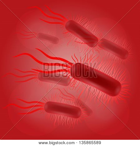 Escherichia coli virus on red background illustration