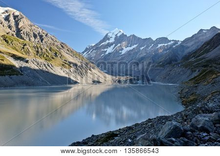 Mt. Cook and Hooker Lake.  Mt Cook National Park, Southern Alps, New Zealand