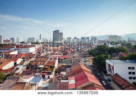 Panoramic View Over Georgetown, Penang, Malaysia
