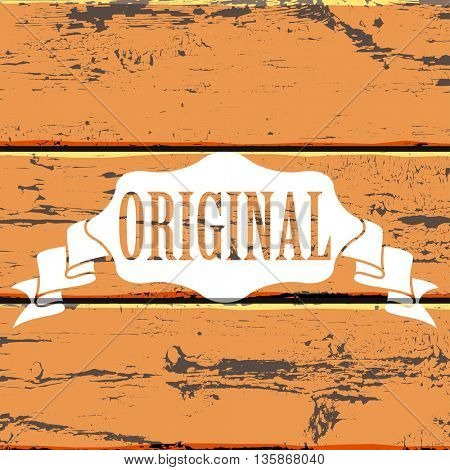 White label badge on the old color painted wood wall paneling background
