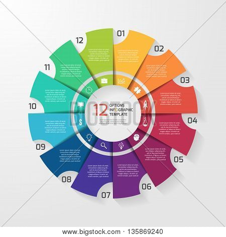 Vector circle infographic template for graphs charts diagrams. Pie chart concept with 12 options parts steps processes.