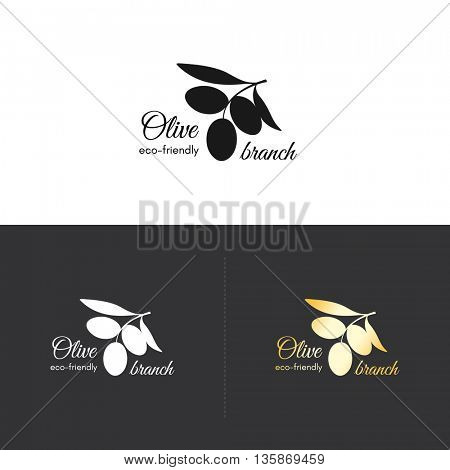 Olive logotype symbol, with olive branch. Olive oil, eco, vegetable designs