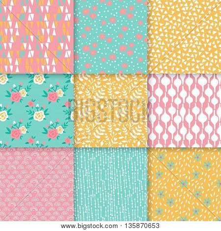 Hand drawing summer seamless pattern design. Abstract background for web and graphic design