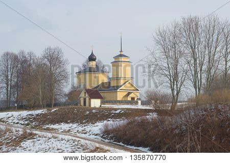 PSKOV REGION, RUSSIA - FEBRUARY 22, 2015: View of the Church of St. George cloudy, february day. Religious landmark  of the Voronich, Pushkinskiye Gory, Russia