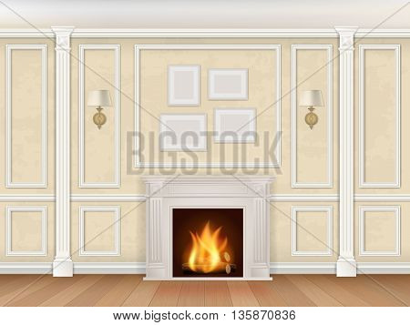 Classic interior wall with fireplace, sconces and pilasters. Vector realistic illustration. Interior background.