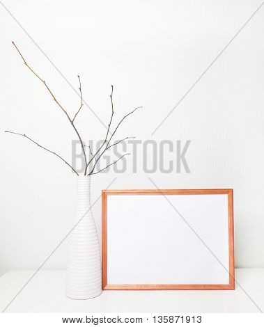 Frame mock up Template poster place work. Frame on wall. Mock up wedding sign