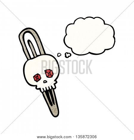 freehand drawn thought bubble textured cartoon skull hairclip