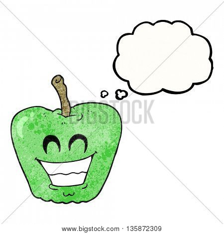 freehand drawn thought bubble textured cartoon grinning apple