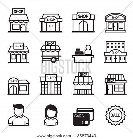 Shop building icon set Vector illustration Graphic design