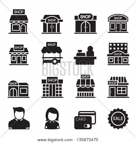 silhouette Shop building icon set Vector illustration Graphic design