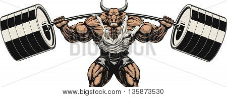 Vector illustration strong ferocious bull holds the barbell on your shoulders