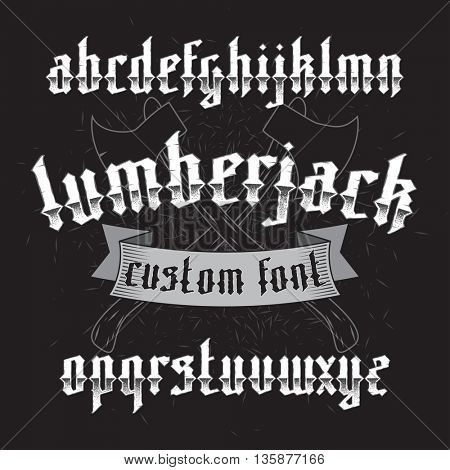 Lumberjack custom gothic alphabet font set on dark background of two old axes and wood chip. New modern vector typeface