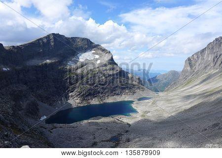 Mountain lake near Troll Wall in Norway