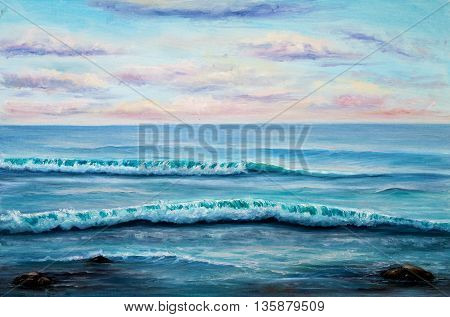 Original oil painting showing ocean or seashore or beach on canvas. Modern Impressionism modernismmarinism
