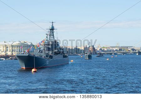 SAINT PETERSBURG, RUSSIA - MAY 09, 2015: A convoy of ships of the Baltic fleet on parade in honor of Victory day on the river Neva in Saint Petersburg