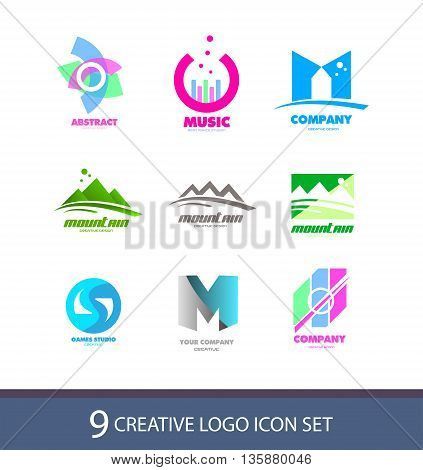 Vector company logo icon element template set various abstract music letter mountain