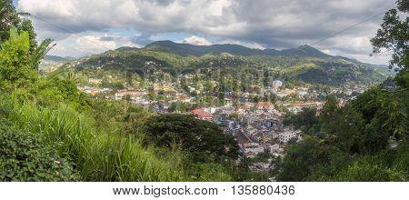 Kandy city view with grey sky (Sri Lanka)