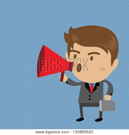 Young businessman with a megaphone Business concept