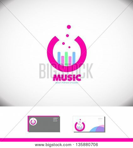 Vector company logo icon element template music volume pink studio volume bar producer sound