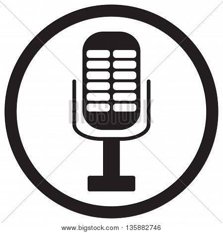 Microphone icon isolated. Microphone isolated and music microphone icon. Vector vintage microphone illustration icon