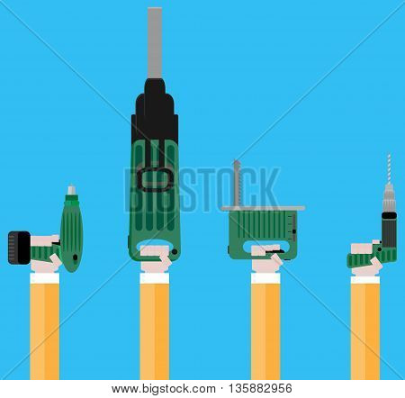 Power tools in your hand vector. Hand tools and power drill power tools isolated and electrical tools illustration